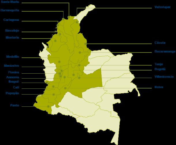 Mapa de Colombia con la ubicación de las oficinas a nivel nacional de AOA Colombia